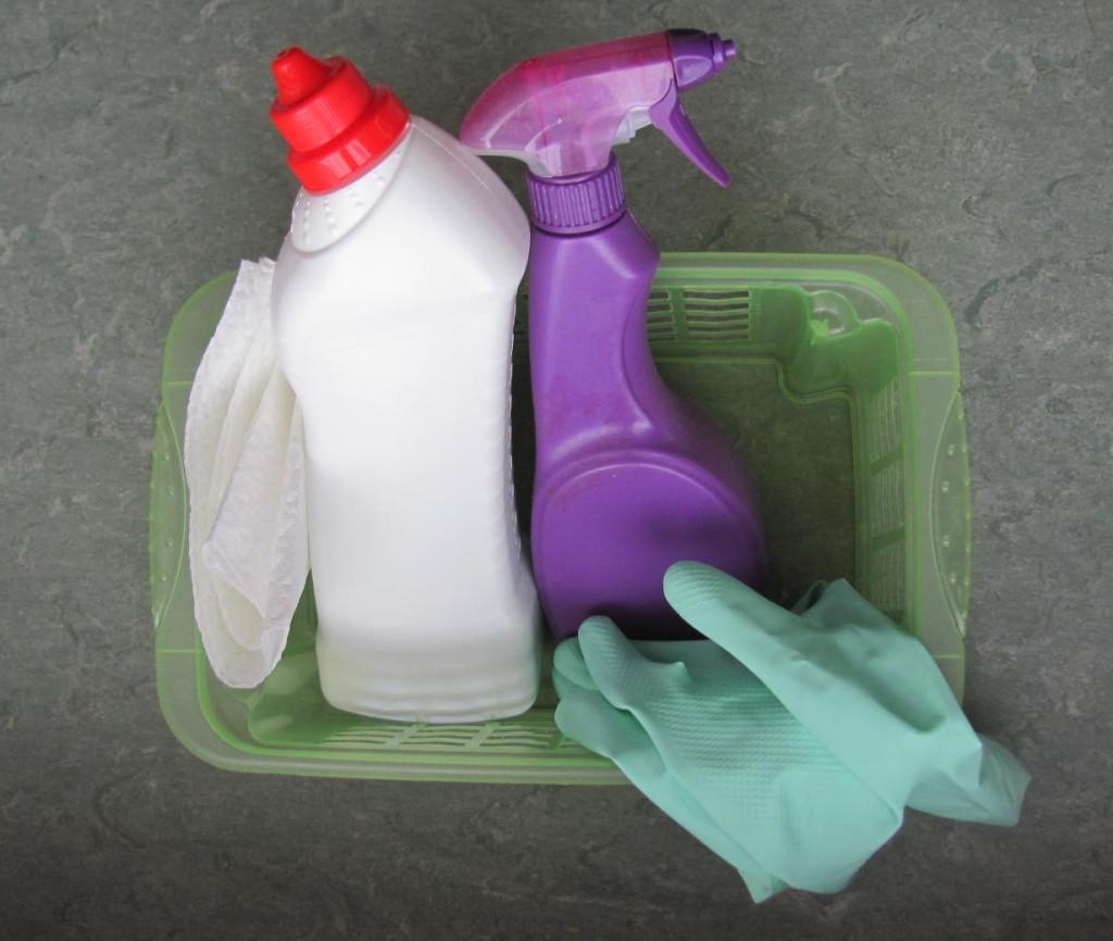 """Туалетный """"утенок"""", распылитель с мягким моющим средством, резиновые перчатки и бумажная салфетка"""